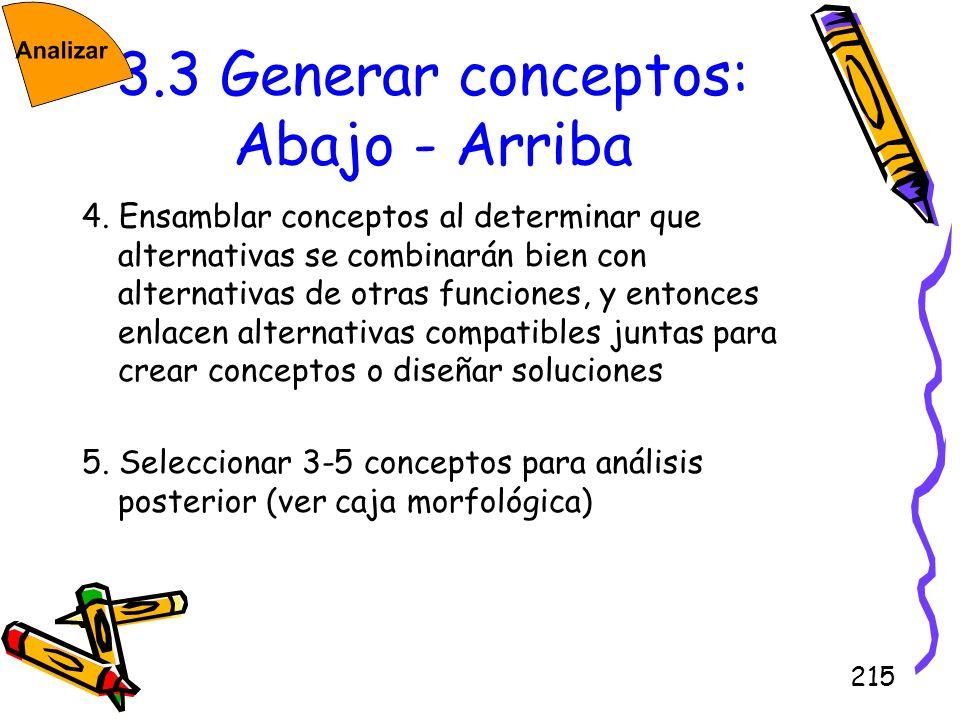 3.3 Generar conceptos: Abajo - Arriba