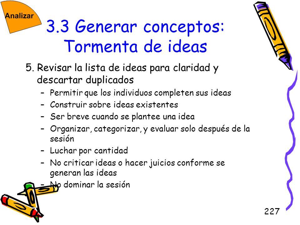 3.3 Generar conceptos: Tormenta de ideas