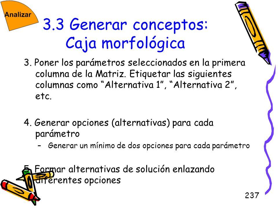 3.3 Generar conceptos: Caja morfológica