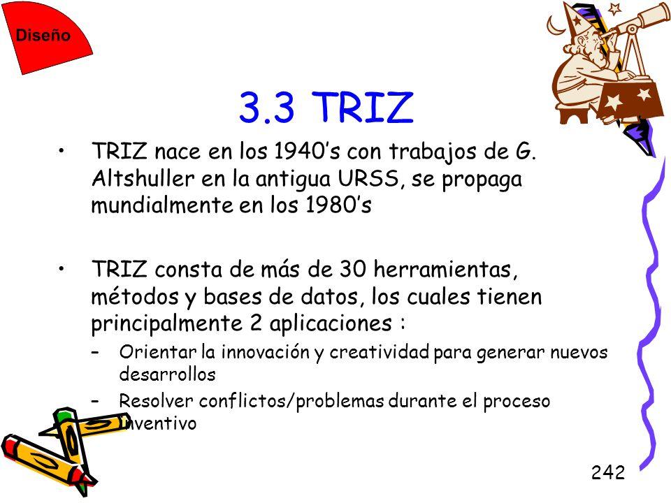 3.3 TRIZTRIZ nace en los 1940's con trabajos de G. Altshuller en la antigua URSS, se propaga mundialmente en los 1980's.