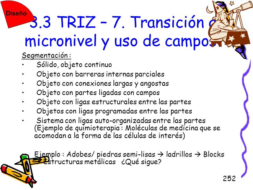 3.3 TRIZ – 7. Transición a micronivel y uso de campos