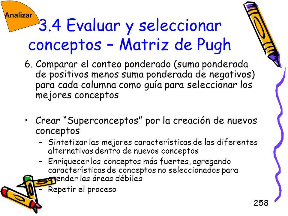 3.4 Evaluar y seleccionar conceptos – Matriz de Pugh