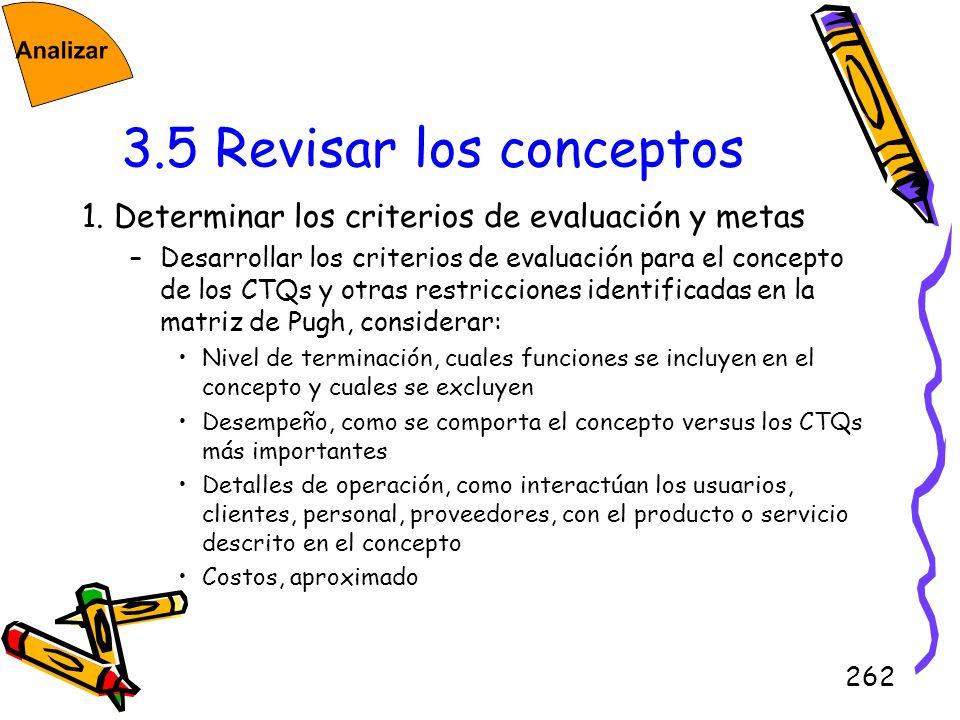 3.5 Revisar los conceptos1. Determinar los criterios de evaluación y metas.