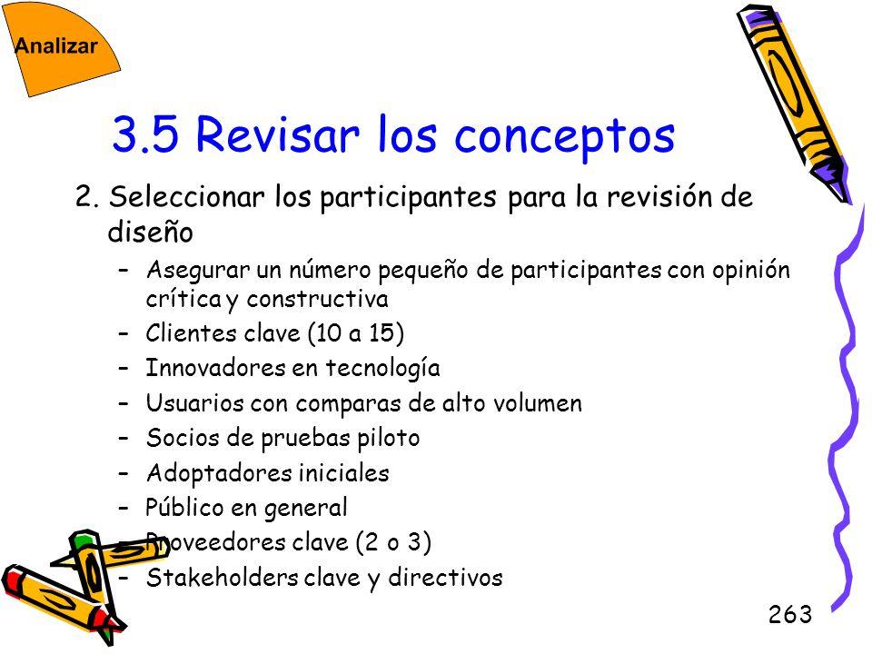 3.5 Revisar los conceptos2. Seleccionar los participantes para la revisión de diseño.
