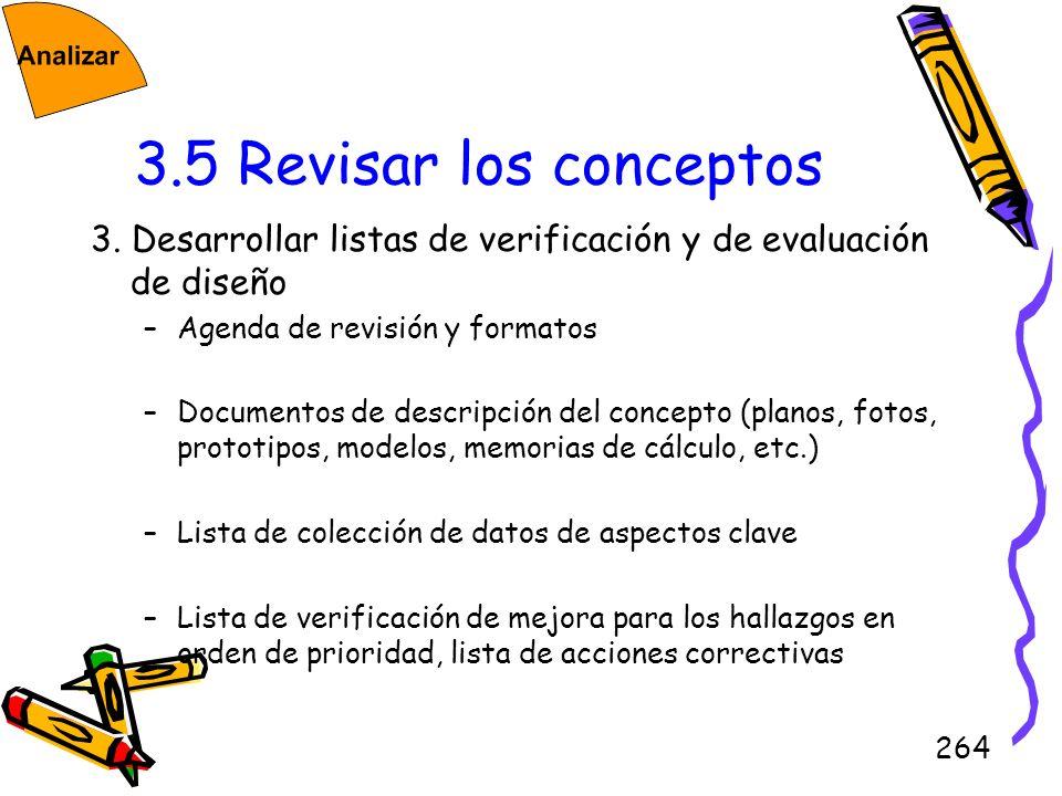 3.5 Revisar los conceptos3. Desarrollar listas de verificación y de evaluación de diseño. Agenda de revisión y formatos.