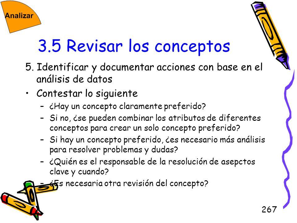 3.5 Revisar los conceptos5. Identificar y documentar acciones con base en el análisis de datos. Contestar lo siguiente.