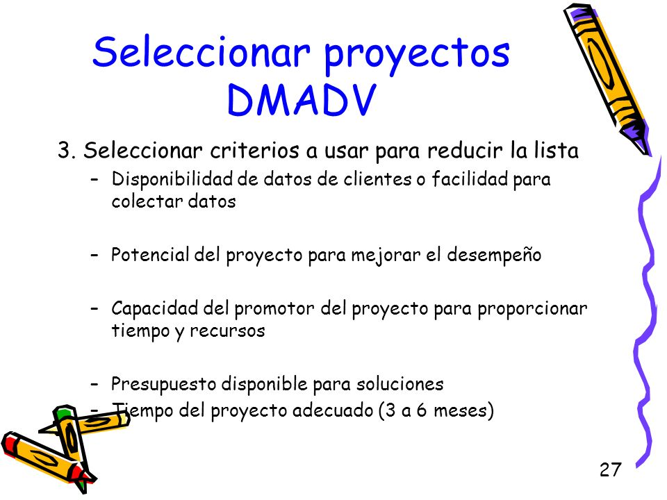 Seleccionar proyectos DMADV