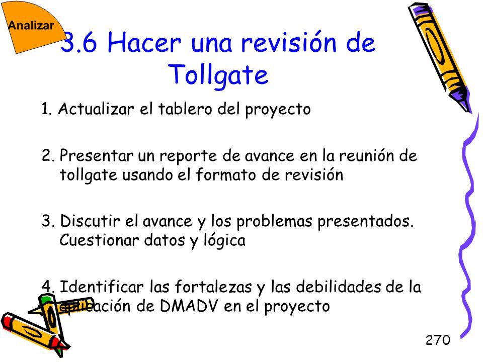 3.6 Hacer una revisión de Tollgate
