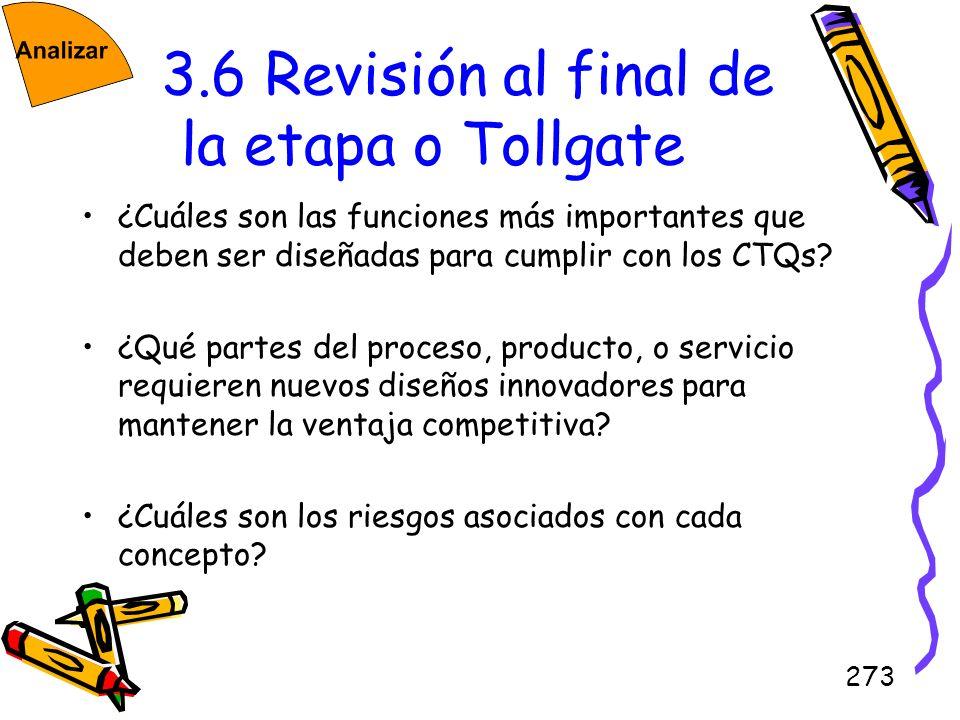 3.6 Revisión al final de la etapa o Tollgate