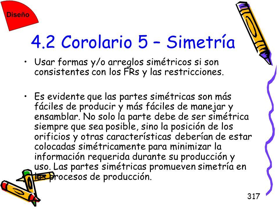 4.2 Corolario 5 – SimetríaUsar formas y/o arreglos simétricos si son consistentes con los FRs y las restricciones.
