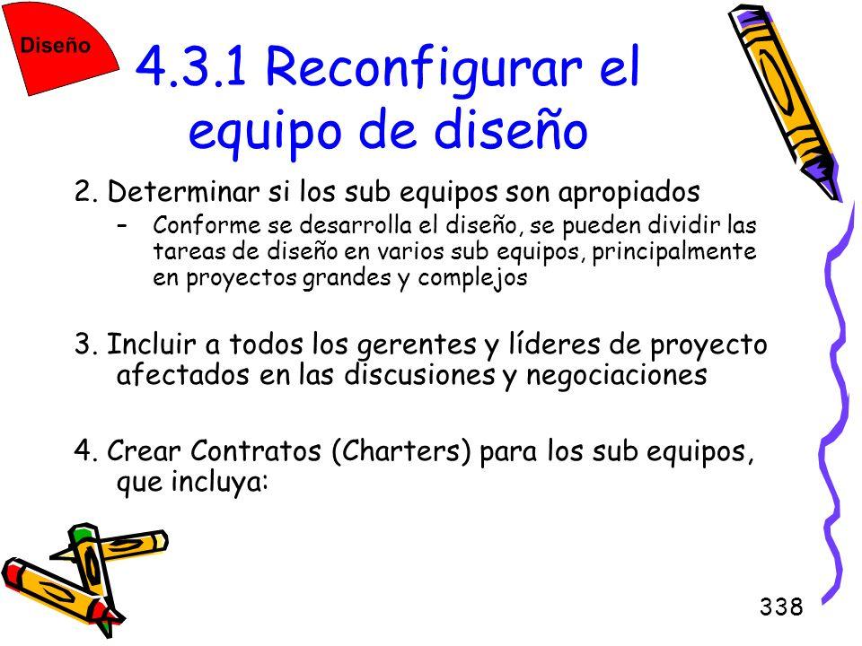 4.3.1 Reconfigurar el equipo de diseño