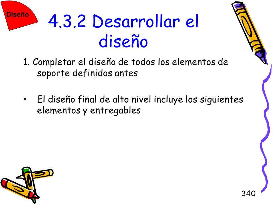 4.3.2 Desarrollar el diseño1. Completar el diseño de todos los elementos de soporte definidos antes.