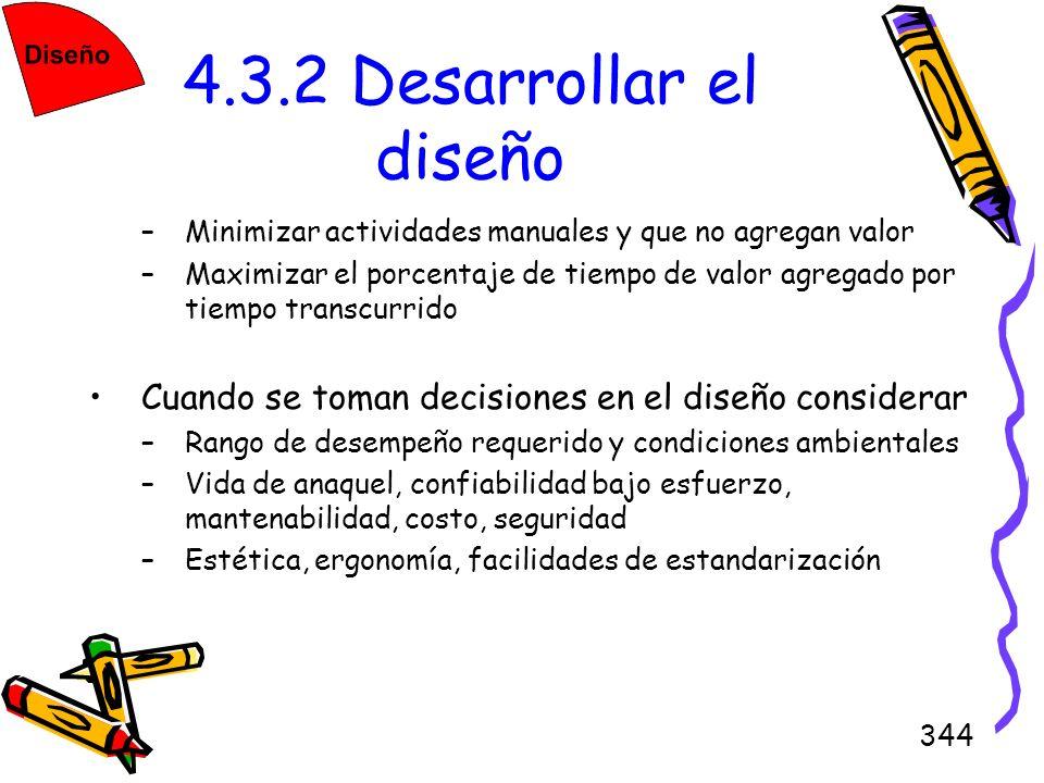 4.3.2 Desarrollar el diseñoMinimizar actividades manuales y que no agregan valor.