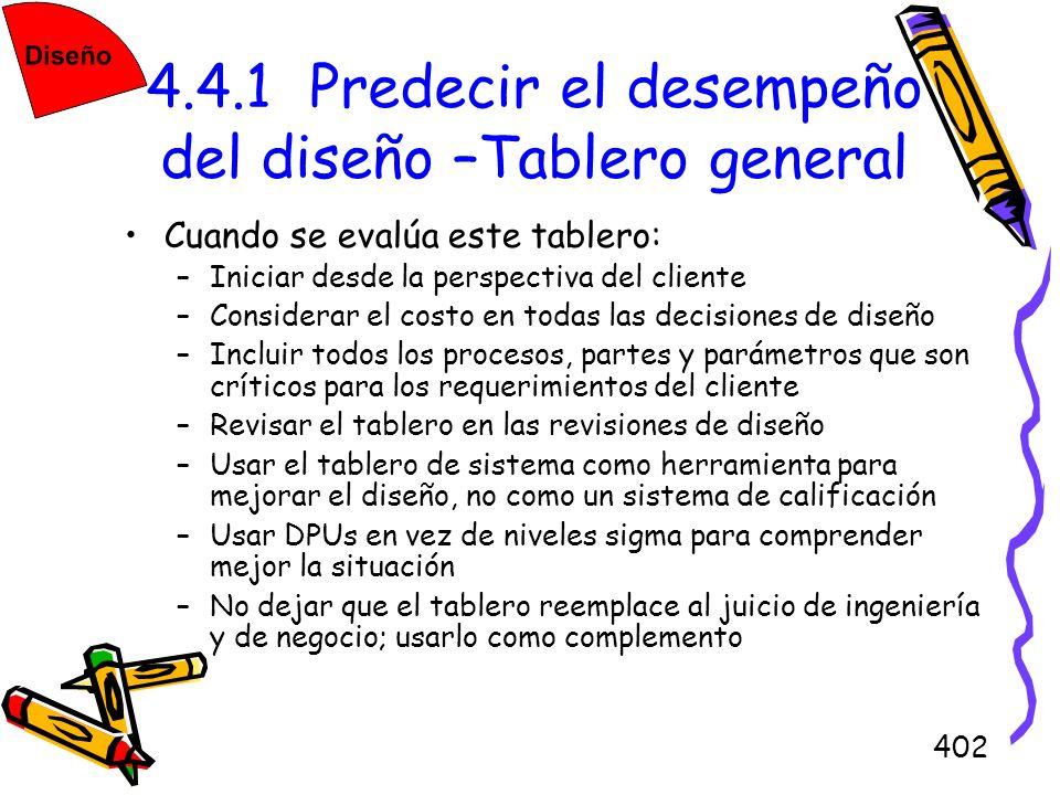 4.4.1 Predecir el desempeño del diseño –Tablero general