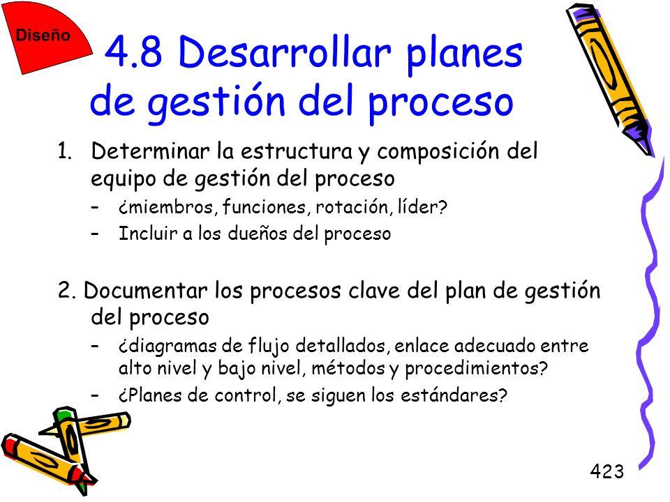 4.8 Desarrollar planes de gestión del proceso