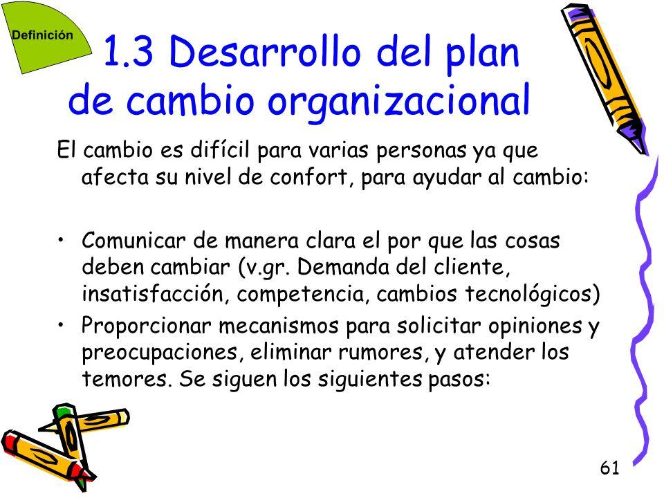 1.3 Desarrollo del plan de cambio organizacional