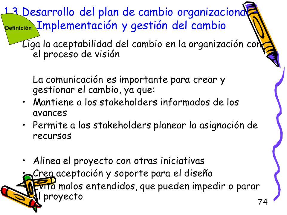 1.3 Desarrollo del plan de cambio organizacional – Implementación y gestión del cambio