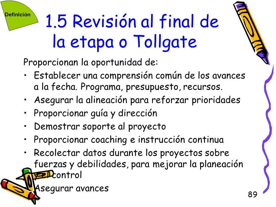 1.5 Revisión al final de la etapa o Tollgate