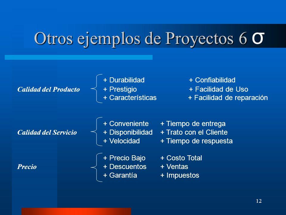 Otros ejemplos de Proyectos 6 σ