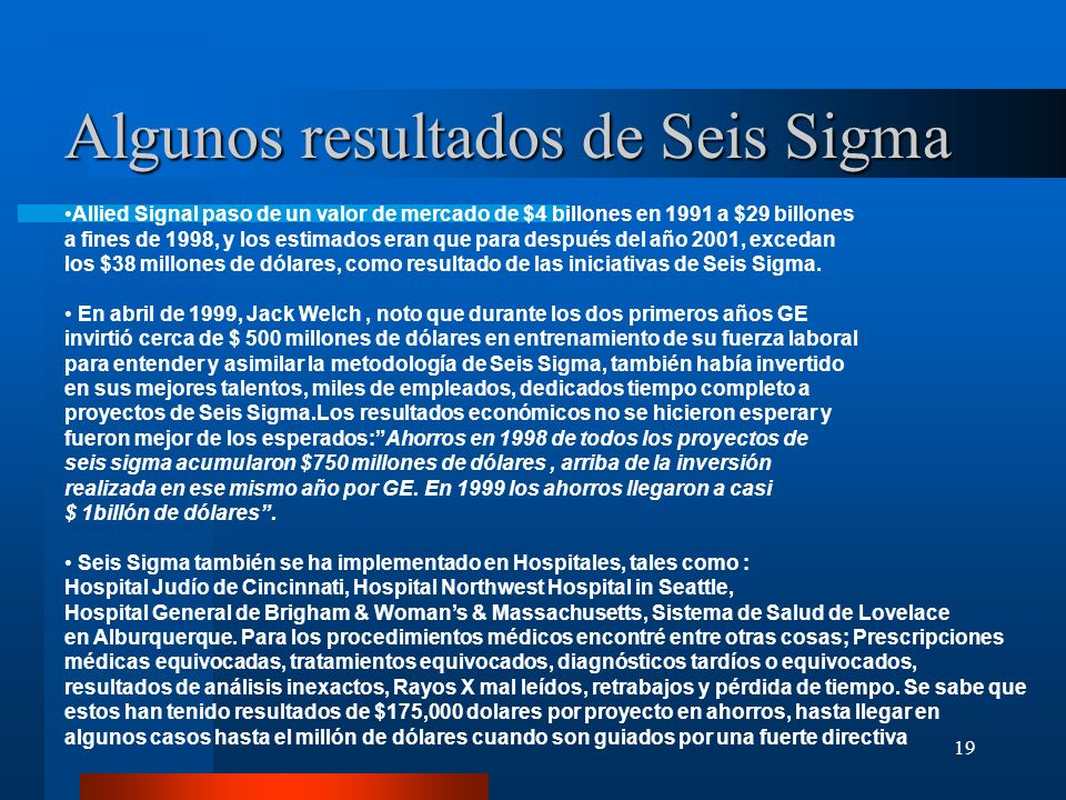 Algunos resultados de Seis Sigma
