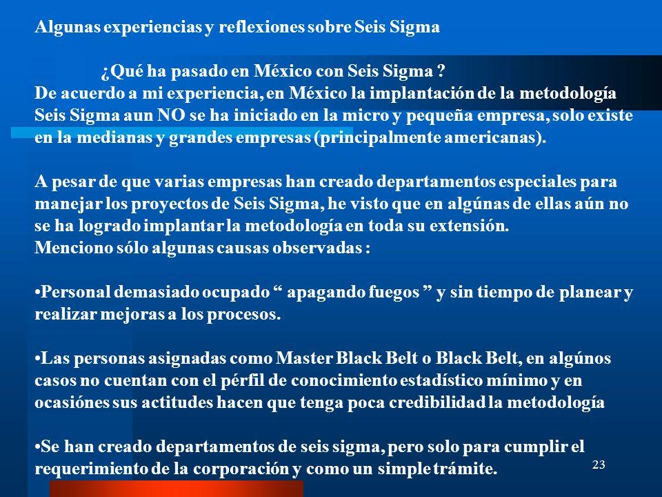 Algunas experiencias y reflexiones sobre Seis Sigma