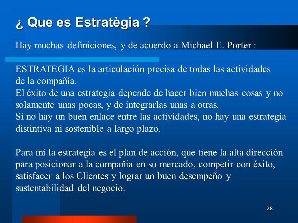 ¿ Que es Estratègia Hay muchas definiciones, y de acuerdo a Michael E. Porter : ESTRATEGIA es la articulación precisa de todas las actividades.