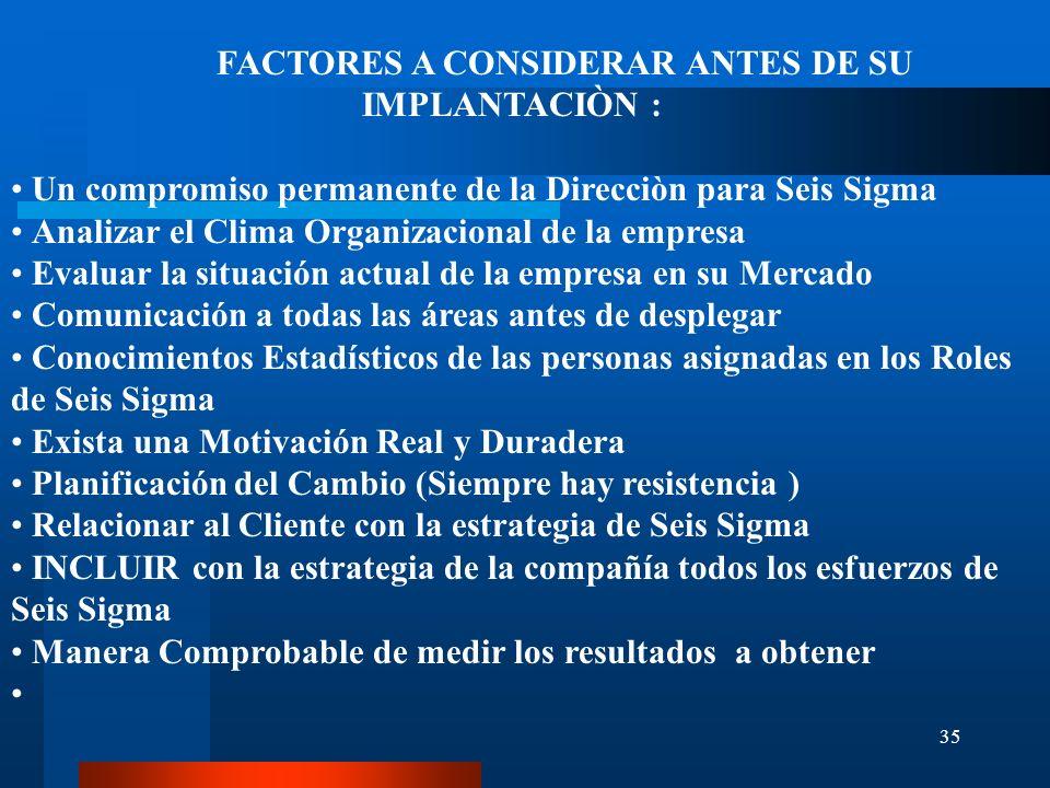FACTORES A CONSIDERAR ANTES DE SU IMPLANTACIÒN :