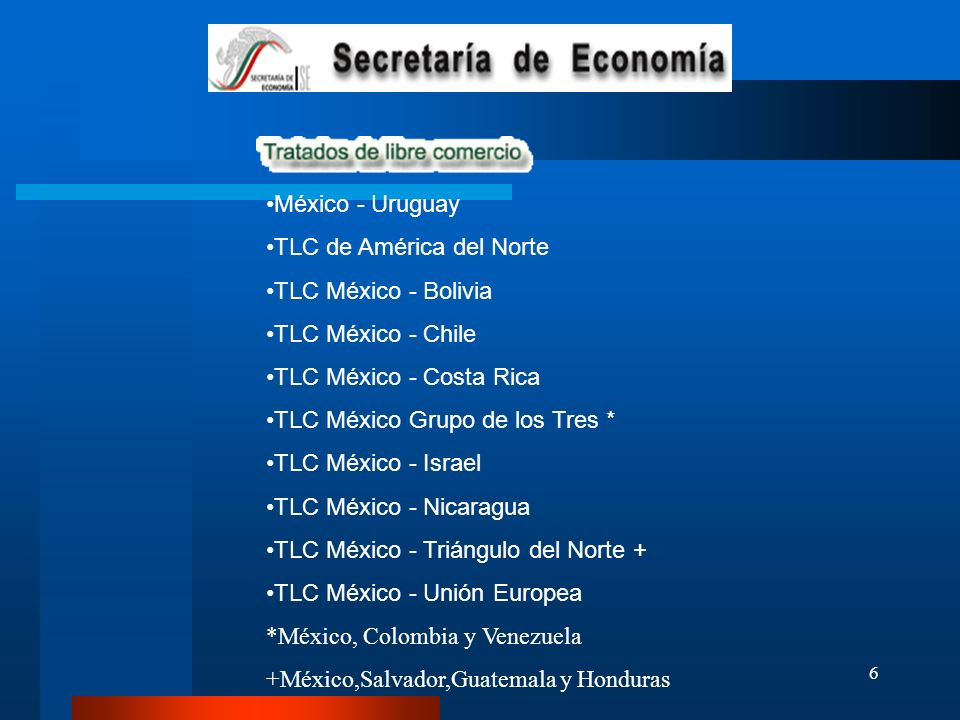 México - Uruguay TLC de América del Norte. TLC México - Bolivia. TLC México - Chile. TLC México - Costa Rica.