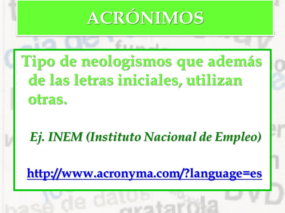 El l xico de la lengua ppt descargar for Inem oficina virtual de empleo