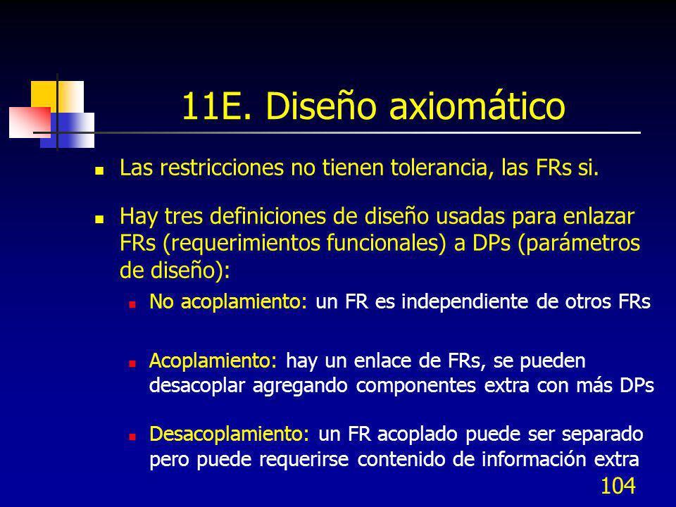11E. Diseño axiomático Las restricciones no tienen tolerancia, las FRs si.