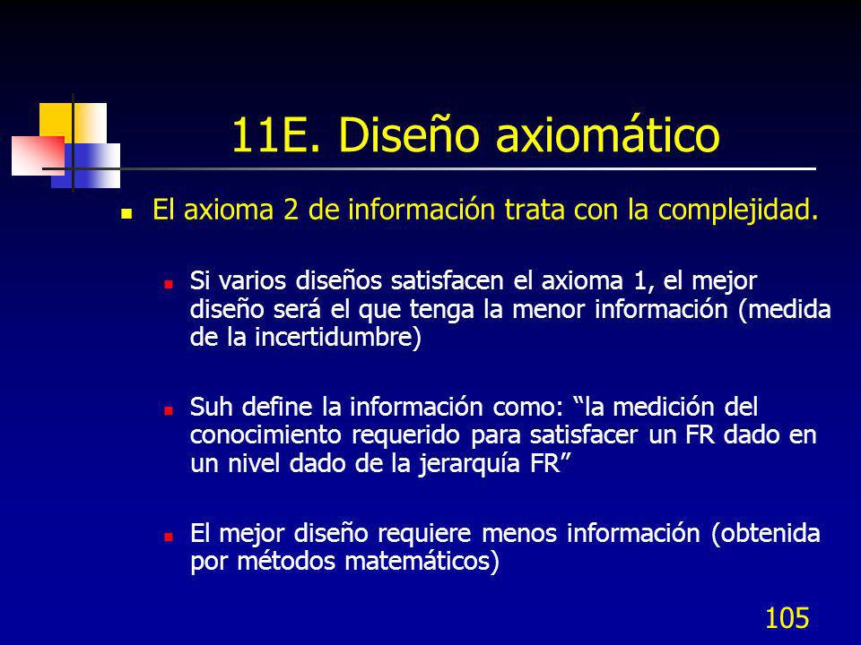 11E. Diseño axiomático El axioma 2 de información trata con la complejidad.