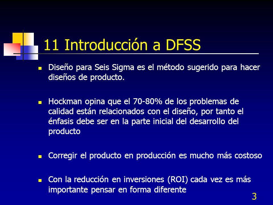 11 Introducción a DFSS Diseño para Seis Sigma es el método sugerido para hacer diseños de producto.