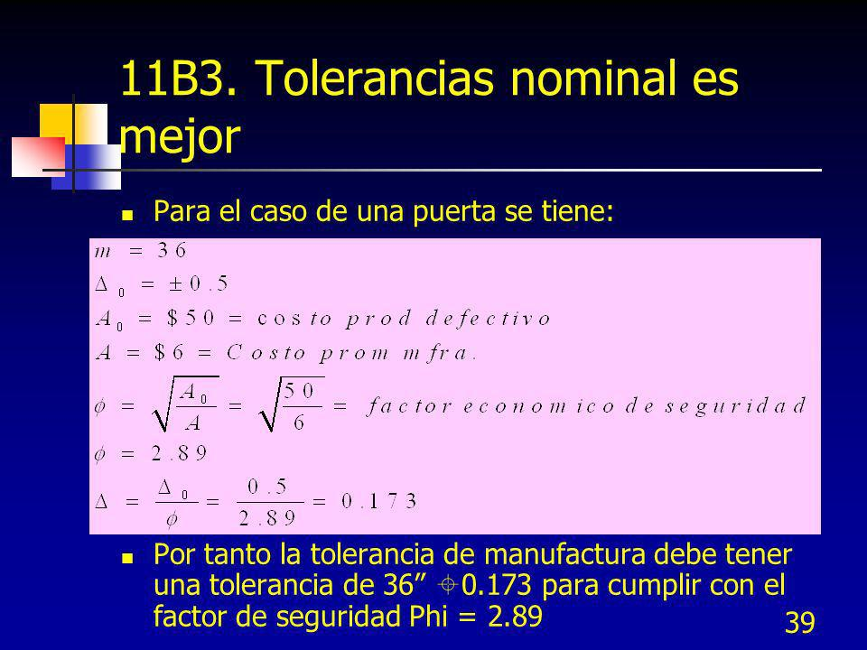 11B3. Tolerancias nominal es mejor