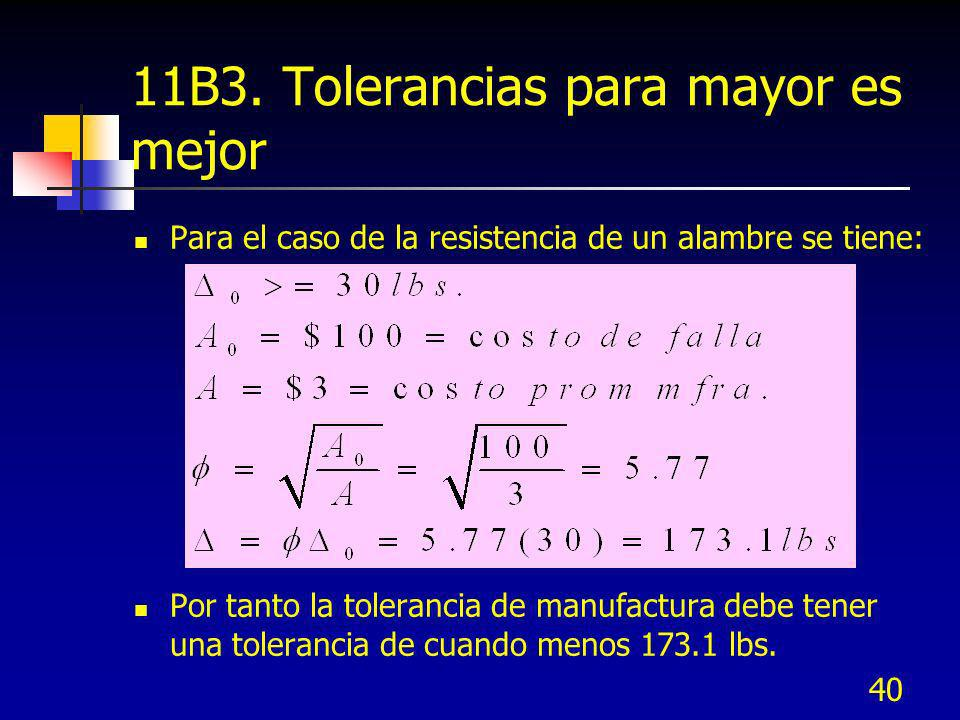 11B3. Tolerancias para mayor es mejor