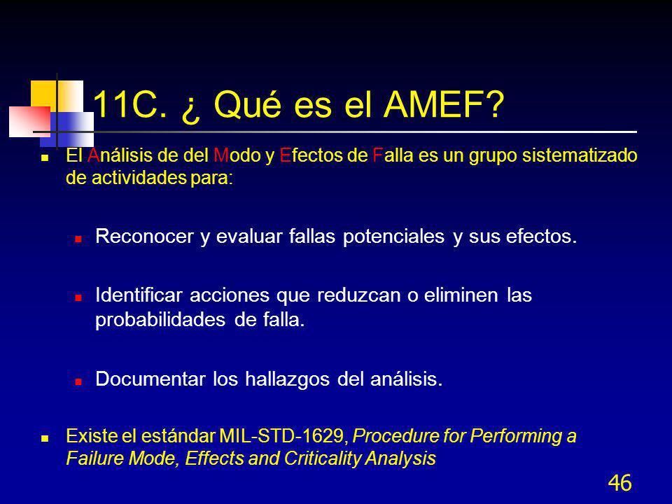 11C. ¿ Qué es el AMEF El Análisis de del Modo y Efectos de Falla es un grupo sistematizado de actividades para: