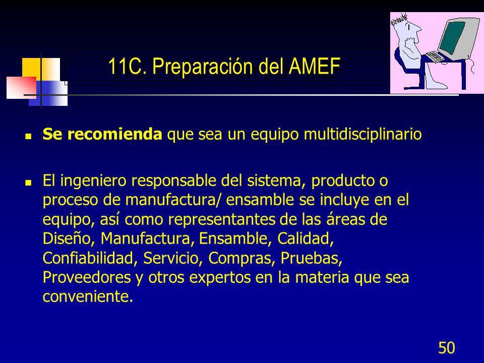11C. Preparación del AMEF Se recomienda que sea un equipo multidisciplinario.