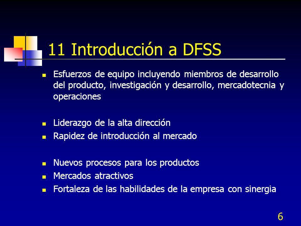 11 Introducción a DFSS Esfuerzos de equipo incluyendo miembros de desarrollo del producto, investigación y desarrollo, mercadotecnia y operaciones.