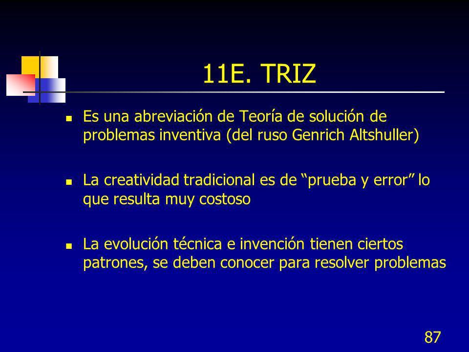 11E. TRIZ Es una abreviación de Teoría de solución de problemas inventiva (del ruso Genrich Altshuller)