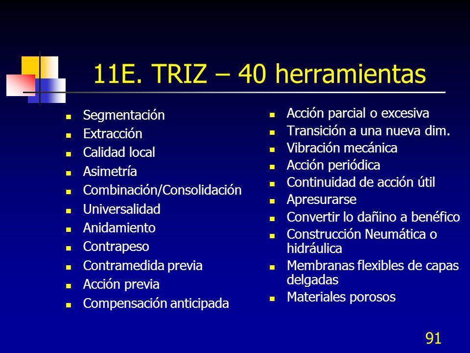 11E. TRIZ – 40 herramientas Segmentación Extracción Calidad local