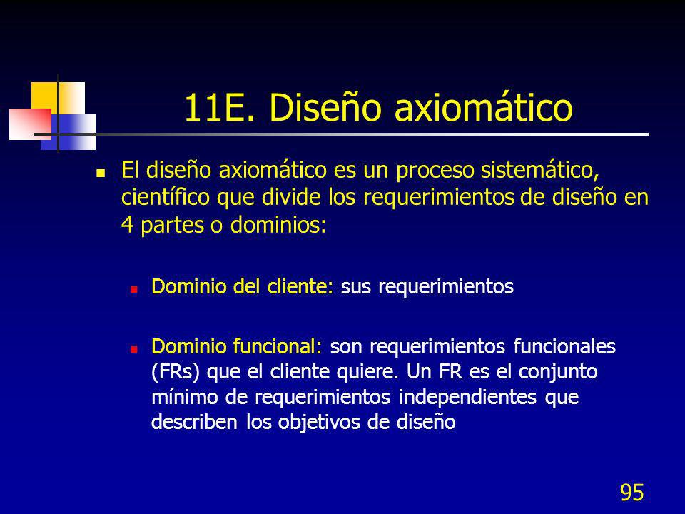 11E. Diseño axiomático El diseño axiomático es un proceso sistemático, científico que divide los requerimientos de diseño en 4 partes o dominios: