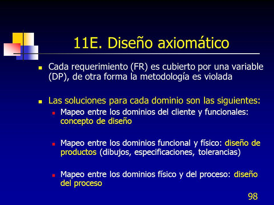11E. Diseño axiomático Cada requerimiento (FR) es cubierto por una variable (DP), de otra forma la metodología es violada.