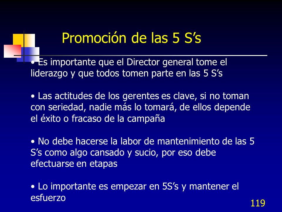 Promoción de las 5 S's Es importante que el Director general tome el liderazgo y que todos tomen parte en las 5 S's.