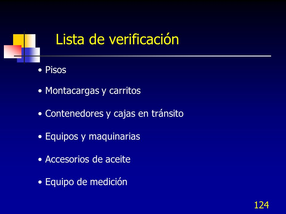 Lista de verificación Pisos Montacargas y carritos