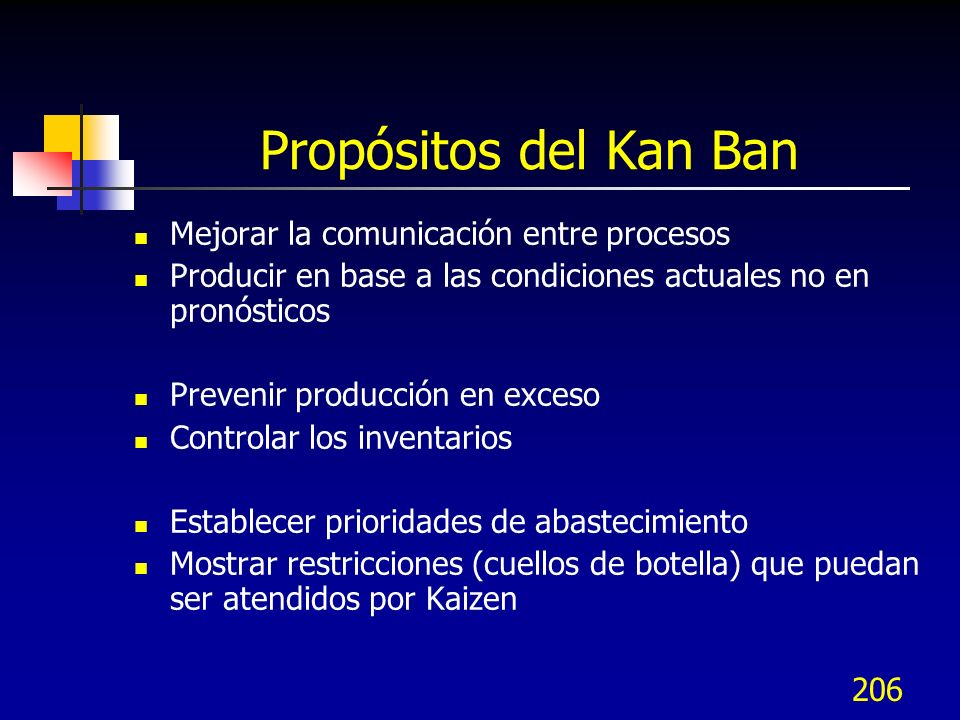 Propósitos del Kan Ban Mejorar la comunicación entre procesos