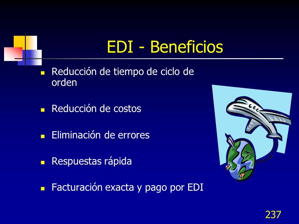 EDI - Beneficios Reducción de tiempo de ciclo de orden