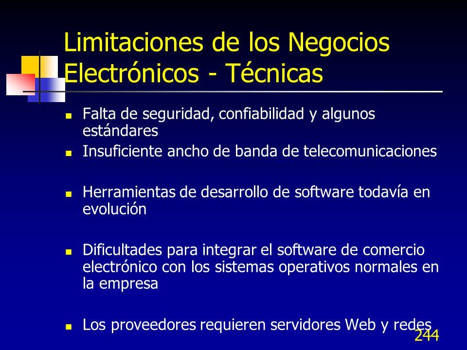 Limitaciones de los Negocios Electrónicos - Técnicas