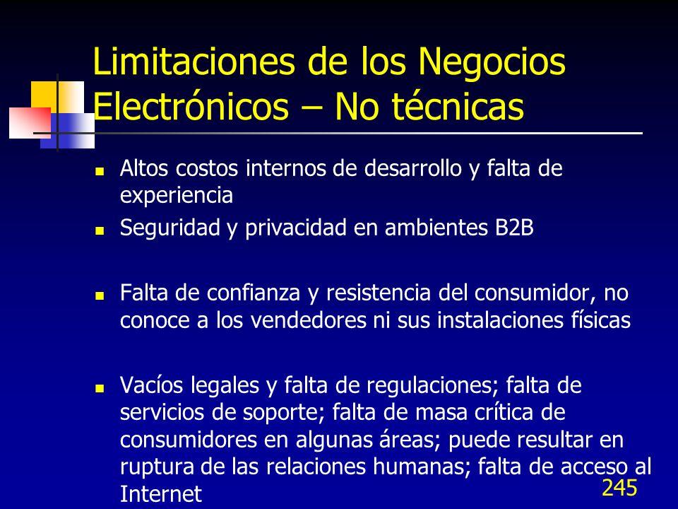 Limitaciones de los Negocios Electrónicos – No técnicas