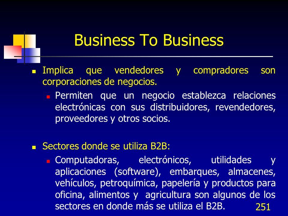 Business To Business Implica que vendedores y compradores son corporaciones de negocios.
