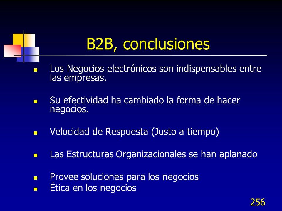 B2B, conclusiones Los Negocios electrónicos son indispensables entre las empresas. Su efectividad ha cambiado la forma de hacer negocios.