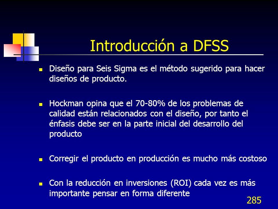 Introducción a DFSSDiseño para Seis Sigma es el método sugerido para hacer diseños de producto.